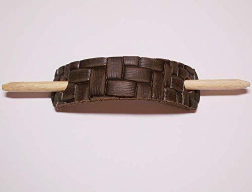 Dunkelbraune, Geprägte Leder (Dunkelbraune HAARSPANGE mit Holzstab aus LEDER mit Prägung
