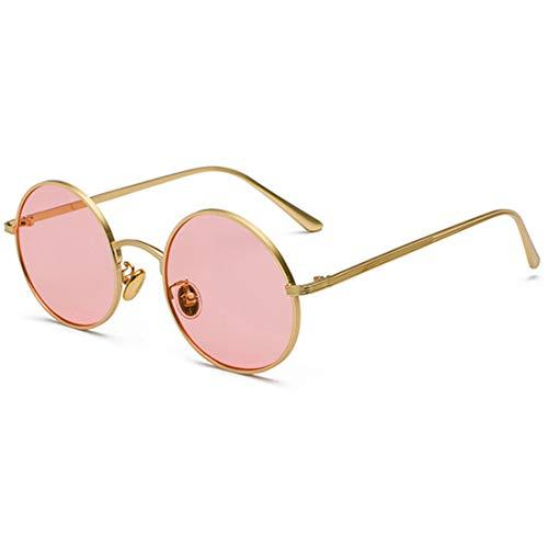 Inlefen Sonnenbrille Männer Frauen Runde Retro Vintage Kreis Stil Sonnenbrille Farbige Metallrahmen Brillen Gold rosa