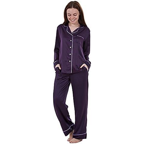Ex Famous Store - Pijama de raso liso de manga larga para mujer Pijama de raso largo