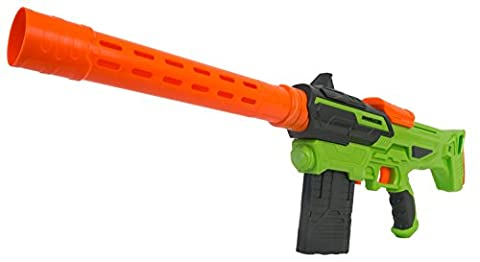 BuzzBee Air Warriors Eradicator - Nerf compatible blaster with a lot of accessories: Comes with 2 magazines, barrel, shoulder stock and 20 darts
