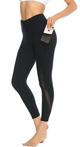 JOYSPELS leggings mädchen Sporthose,4how leggings Leggins mit Taschen Yoga Zumba Gym Fitness Lauf High Waist Yogahose Schwarz XL