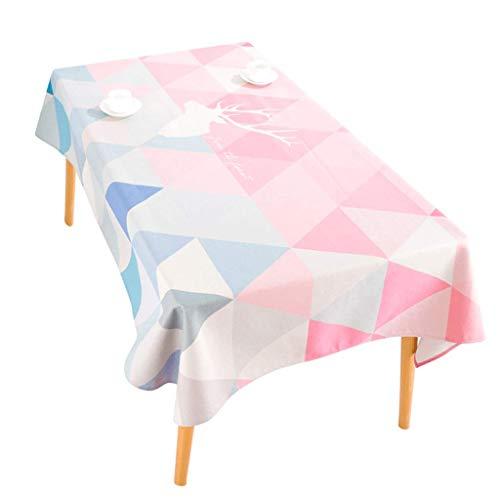 FQL Tischdecke Nordic Minimalist Ins Style Rosa Tischdecke Stoff Rechteckige Couchtischdecke Baumwolle Leinen Kleine Frische Tischdecke Schreibtischtuch (größe : 100 * 140cm)