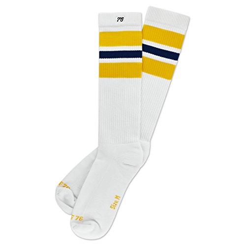 ny Navys | Hohe Retro Socken mit Streifen Weiß, Gelb & Blau gestreift | stylische Unisex Kniestrümpfe Size S (35-38) ()