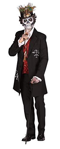 T2407-XL schwarz-weiß-rot Herren Jacke-Mantel Voodoo Meister ''Papa Legba'' Kostüm Gr.XL (Herr Meister Kostüm)