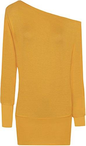WearAll - Tunique épaule à manches longues pour - Hauts - Femme - Tailles 36-48 Moutarde
