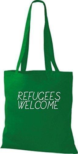 ShirtInStyle Sac fourre-tout Sac en coton Réfugiés welcome, réfugiés, Restez à droite, diverses Couleurs - Orange Kelly