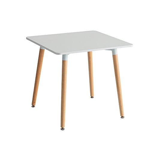Mesa de comedor nórdica blanca de madera para cocina Basic - Lola Derek