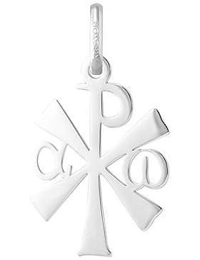 Christusmonogramm durchbrochen–Religiöse Medaille–Weißgold 18kt–Durchmesser: 18mm–www.diamants-perles.com