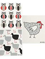 wedische Geschirrtuch, Malin Westberg Wiederverwendbar-Designs von Huhn Hühner und Vögel --Sets mit 3Verschiedenen Designs Hens, Owls, Tapethona (Ip) ()