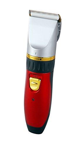 Akku Haarschneider Keramik Bartschneider Konturen Schneider Trimmer Langhaarschneider Haarschneidemaschine 25 Schnittlängen (Netz oder Akkubetrieb) (Haarschneider Rot)