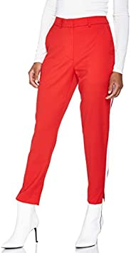 Calvin Klein J20J209554 Comfort Fit 645 Side Stripe Twill Trouser for women in Red, Size:28inches