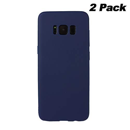 Galaxy S8 Plus Hülle Dünn Silikon, Asnlove 2 Pack Handy Schutzhülle für Samsung Galaxy S8 Plus Hülle TPU Silikon Backcover Case Handytasche Einfarbig Telefon-Kasten Tasche Schutz Cover Design Blau (Chanel Handy Cover)