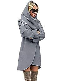 Minetom Basic Jacket Giacca con Cappuccio Donna Hoodie Cappotto Cappotti  Autunno Inverno Cardigan Casuale Moda Parka c0f96b09927