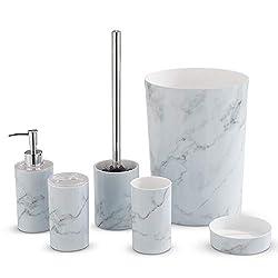 LIVIVO Stylish 6pc Bathroom & Sink Accessory Set - Modern Vanity Organiser Kit Include Tumbler, Toothbrush & Toilet Brush Holder, Lotion Dispenser, Soap Dish & Trash Bin (White Marble)