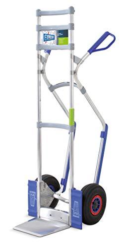 Vollmontierte EXPRESSO Alu Profi-Sackkarre mit Treppenrutsche dank Gleitkufen/Tragkraft 260 kg/Räder Ø 26 cm sind Luftreifen/Sicherheitsgriffe/Schaufel 24,5 x 22 cm/AE201121 blau