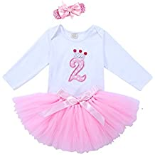 66d747024 URBEAR Bebé Niña 3pcs Corona Patrón de primer cumpleaños para vestido de  Morado tutú+ropa