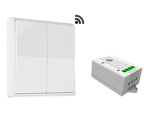 codalux Funkschalter / Lichtschalter SET E-Serie Wippe 2 Tasten weiss + 2-Kanal Empfänger 2x5A 433 MHz - kinetischer Funklichtschalter ohne Batterie - batterielos / piezo mit 5 Jahren Garantie