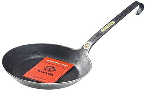 TURK Eisenpfanne Bratpfanne Pfanne mit Stiel freiform HANDGESCHMIEDET ohne Beschichtung 22 cm. Ideal auch für Induktion, Feuerstelle und Grill