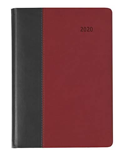 Buchkalender Premium Fire Schwarz-Rot - Tageskalenderbuch A5 - Kalender 2020 - Alpha Edition-Verlag - Jeder Tag auf einer Seite - Taschenkalender in Lederoptik - Kalenderbuch 15 cm x 21 cm