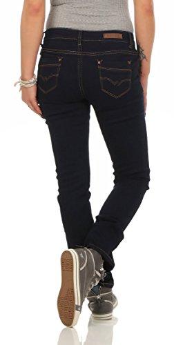 10225 Fashion4Young Damen Jeans Röhrenjeans Hose Stretch-Denim Skinny Damenjeans Slimline Dunkelblau