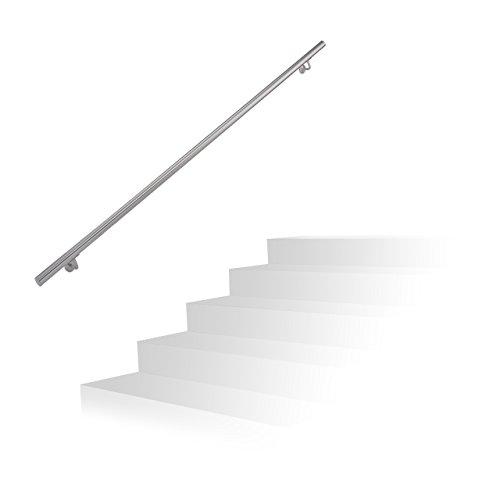 Relaxdays Handlauf Edelstahl, gebürsteter Edelstahl, 200 cm, Wandhalter, Treppengeländer mit Metalldübeln