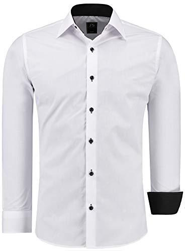 J'S FASHION Herren-Hemd - Slim-Fit - Bügelleicht - EU Größen: S bis 6XL - Weiß mit Kontrast XXL