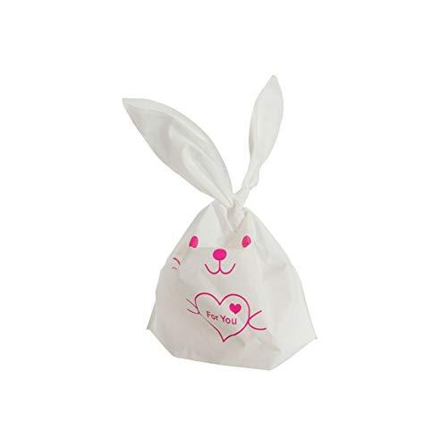 KEYkey Lange Hasenohren Taschen kleine Tüten mit Süßigkeiten Cookies Häschen-Leckerei-Tasche 50Pcs Kaninchen-Herz-Muster-Ohr-Plätzchen-Süßigkeit
