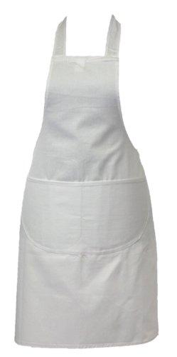 Chef Tablier Qualité Professionnelle De Boucher Cuisine Cuisiniers Restaurant Bistro BBQ École Collège Double Poches 100% Coton - Blanc