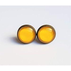 Ohrstecker bronze und silber gelb/senfgelb Glas