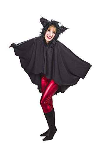 Kostüm Fledermäuse - shoperama Fledermaus-Umhang mit Fell-Kapuze Halloween Cape Damen-Kostüm Fledermaus-Flügel