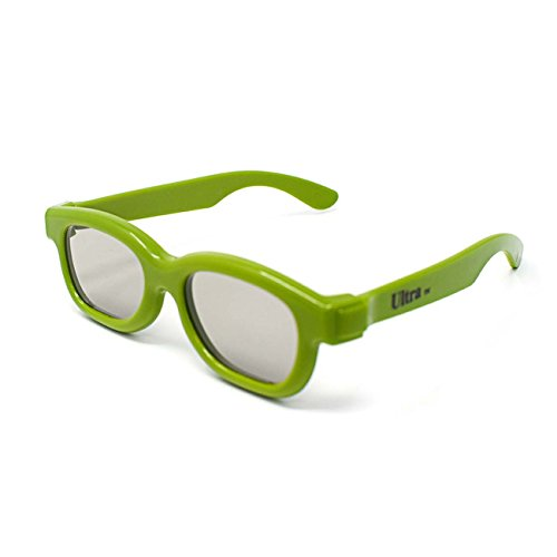 Ultra 2 Pairs of Green Childrens Passive 3D Glasses for Kids Polorized Eyewear Universal for Passive Cinema and Projectors Such as RealD Toshiba LG Panasonic Sony TVs
