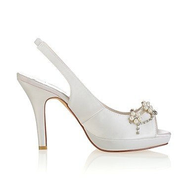Best 4U® Da donna Scarpe Raso elasticizzato Estate Decolleté scarpe da sposa A stiletto Punta aperta Cristalli Perle per Matrimonio Serata e festa ivory