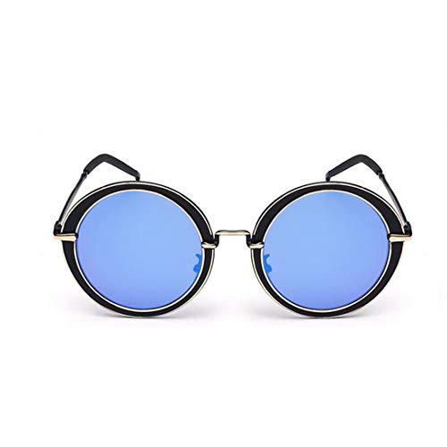 WULE-RYP Polarisierte Sonnenbrille mit UV-Schutz Unisex-Erwachsene Steampunk Runde Form Metallic Frame UV-Schutz Sonnenbrillen Superleichtes Rahmen-Fischen, das Golf fährt (Farbe : Blau)