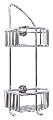 Tesa draad Eck-Duschregal (zweistöckig, zwei Haken, Messing, verchromt, inkl. Klebelösung, 425mm x 180mm x 205mm) -