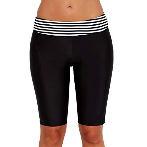 Damen Badeshorts Badehose Damen Lang Schwimmshorts Schwimmhose Wassersport Streifen Boardshorts UV Schutz Allence