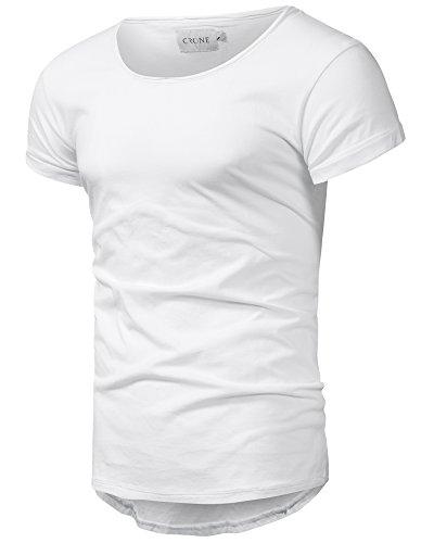 Crone Herren Kurzarm Rundhals Basic Oversize Slim Fit T-Shirt in vielen Farben (L, Weiss)
