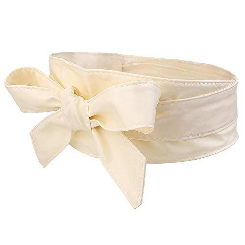 BOLAWOO-77 Cinturón De Mujer Elástico Cinturón Bowknot Ancho Arco Cinturón Mode De Marca Elegante Cinturón Wrap Moda Cinturón De Corbata Exquisito Cinturón De Cuero (Color : Beige, Size : One Size)