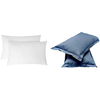 """Amazon Brand - Solimo 2-Piece Ultra Soft Bed Pillow Set - 17 x 27 inches, White and Solid 144 TC 100% Cotton 2 Piece Pillow Covers, 18""""x 27"""", Navy(Not Pillow) Blu Combo"""