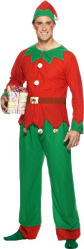 SMIFFYS Costume da Elfo da Uomo Party Christmas Fun Party Abito Completo Verde-Rosso