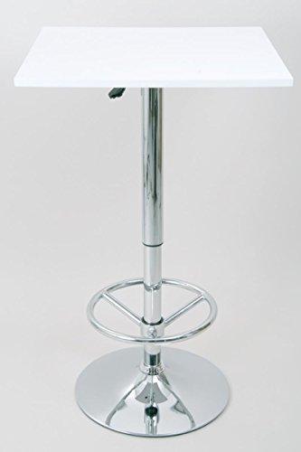 """Bistro-Tisch, weiß, Fußstütze, quadratische Holzplatte, höhenverstellbar 84-104 cm -\""""Stuttgart\"""""""