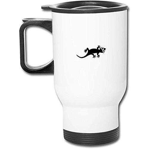 Gecko mit Sonnenbrillen-Abziehbild Edelstahl-Isolierreisebecher mit Deckelladetassen Isolierkaffeetasse