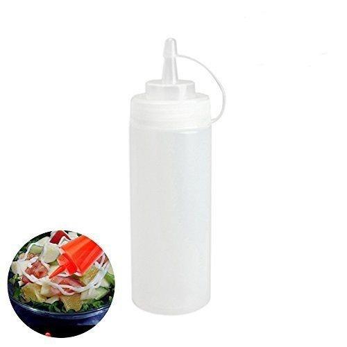 Kingzhuo 6 Stück 473 ml Kunststoff Squeeze Flaschen mit Deckel Beste Spender für Zuhause Ketchup Senf Mayo Hot Socen Olivenöl Bulk Transparent BPA Free BBQ Set