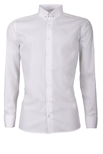 Schaeffer Hemd Slim Fit uni weiß Piccadilly Kragen / Pin Collar Collar Pin Shirt