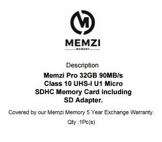 MEMZI PRO 32GB Class 10 90MB/s Micro SDHC Memory Card with SD Adapter for DJI Quadcopters or Drones