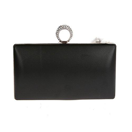 KAXIDY Damen Handgemachte Kleine Handtasche Abendtasche Damen Clutch Für Party Hochzeit Schwarz