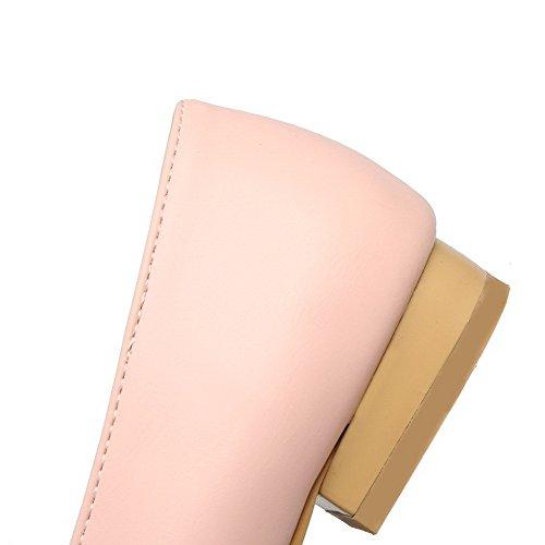 VogueZone009 Femme Tire Pu Cuir Carré à Talon Bas Couleur Unie Chaussures Légeres Rose