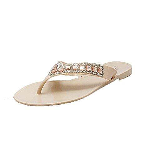 Infradito e sandali in gelatina con pietre preziose nude Peach