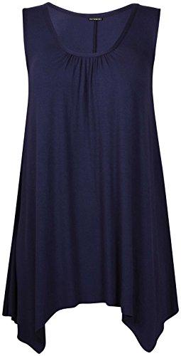 Femmes Sans Manches Femme Extensible froncé Col Rond Uneven Ourlet Gilet Long T-Shirt Top Bleu Marine
