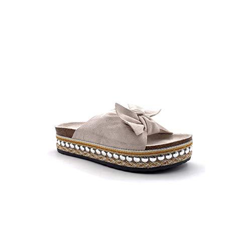 Angkorly - Scarpe Moda Sandali Mules Aperto Suola Grande Comfortable Donna Arco Perla con Paglia Tacco Tacco Piatto 4 CM - Beige 503-2 T 39