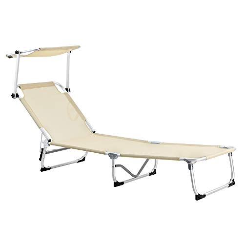 [casa.pro]®]®] Alu Sonnenliege mit Sonnendach 3-stufig verstellbar 189,5cm Gartenliege Strandliege Liege Relaxliege max. bis 110kg